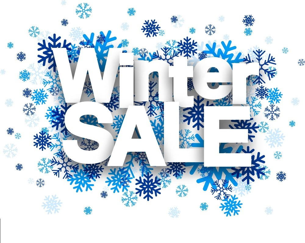 Winter Sale Paper Sign Over Snowflakes Vector